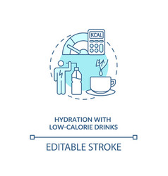 Hydration with low calorie drinks blue concept vector