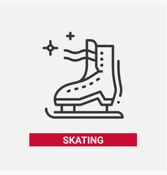ice skate - line design single isolated icon vector image