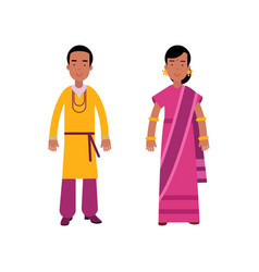 indian man and woman in traditional clothing vector image