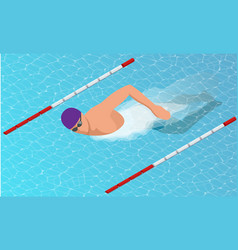 Isometric male swimmers doing free style vector