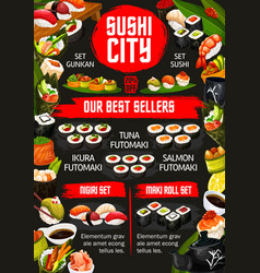 japanese sushi bar asian food dishes menu vector image