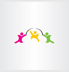 Kids play jumping rope icon vector