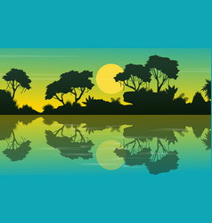 Landscape jungle at morning silhouettes vector