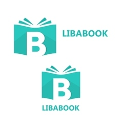 Logo combination a book and letter b vector