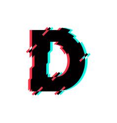 Logo letter d glitch distortion diagonal vector