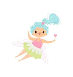 lovely little winged fairy with light blue long vector image