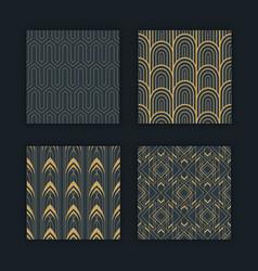 Luxury art deco seamless pattern gold black set vector