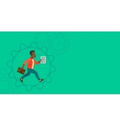 Man running inside the gear vector image