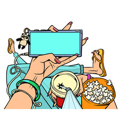 Man with popcorn at home watching online movie vector