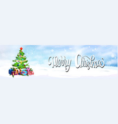 merry christmas banner pine tree decorated wtih vector image
