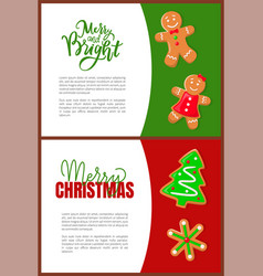 merry christmas greeting gingerbread cookies card vector image