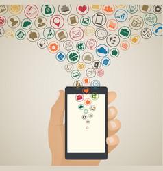 mobile app development concept cloud media icons vector image
