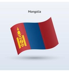 Mongolia flag waving form vector image