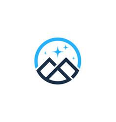 Night mountain logo icon design vector