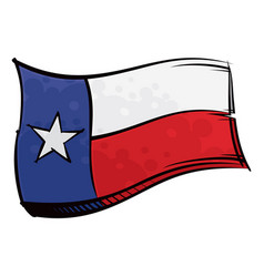 painted texas flag waving in wind vector image