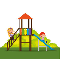 park with kid zone scene with kids playing vector image