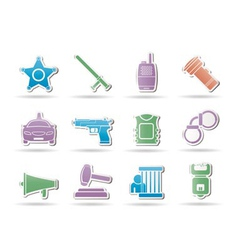 police and crime icons vector image