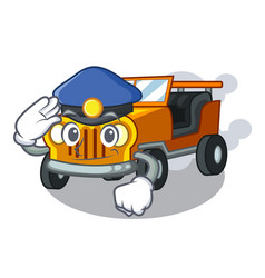 police jeep car isolated with cartoon vector image