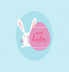 postcard-happy-easter-bunnu-and-egg vector image