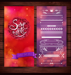 red and purple save date graphics vector image