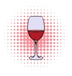 Red wine in glass comics icon vector image