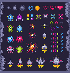 retro space arcade game invaders spaceship pixel vector image