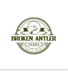 retro vintage cattle angus beef emblem label logo vector image