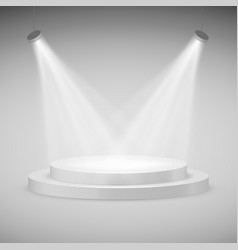 Round stage illuminated by spotlights realistic vector