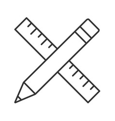 ruler and pencil linear icon vector image