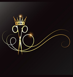 Scissors with a lock hair and golden crown vector