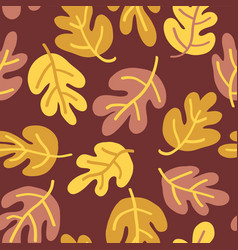 Seamless autumn pattern of fall leaves vector