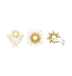 Set mystical golden logos with sun vector