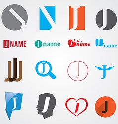 Set of alphabet symbols of letter J vector image