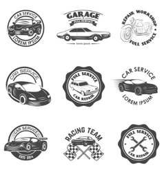 Set of car repair service racing team labels and vector