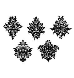 Set of five different foliate arabesques vector image