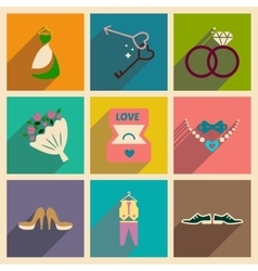 Set of flat web icons with long shadow wedding vector