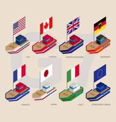Set of isometric ships with flags of g7 and eu vector