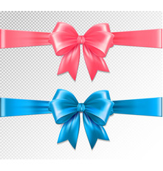Set of realistic pink and blue ribbon and vector