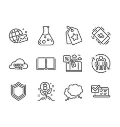 set technology icons such as quick tips world vector image