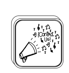 Silhouette square button with megaphone vector