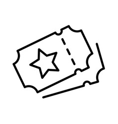 simple monochrome ticket icon with star logo vector image