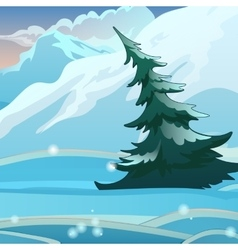 Snow valley with mountains and spruce vector