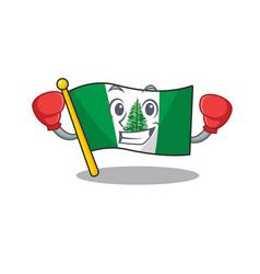Sporty boxing flag norfolk island mascot character vector