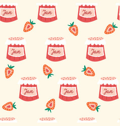 strawberry jam seamless pattern repeating vector image