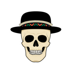 stylized skull in hat black and white vector image