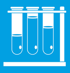 Three beakers icon white vector