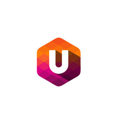 u hexagon pixel letter shadow logo icon design vector image