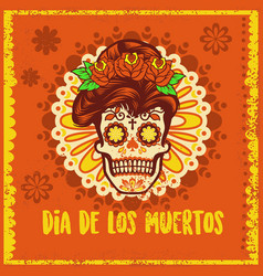 vintage dia de los muertos design vector image