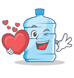 With heart gallon character cartoon style vector