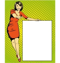 Woman stays next to blank white board Pop art vector